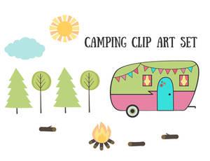 Free Vintage Retro Camping Clip Art Set