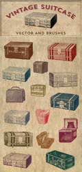 Vintage Stock Images | Suitcase Vector and Brushes by starsunflowerstudio