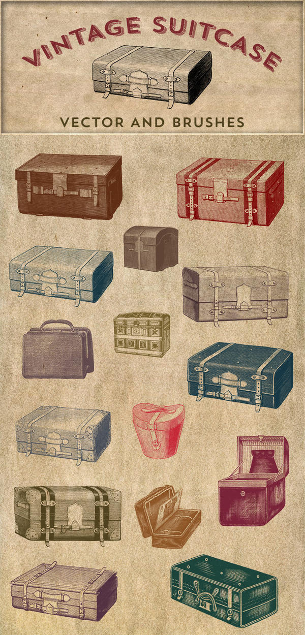 Vintage Stock Images   Suitcase Vector and Brushes