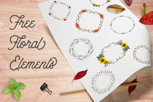 Free Floral Wreaths and Laurels for Graphic Design