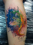 water color wolf tattoo by ed weston