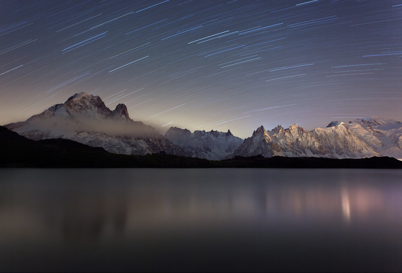 Star Trails above Mont Blanc by RobertoBertero