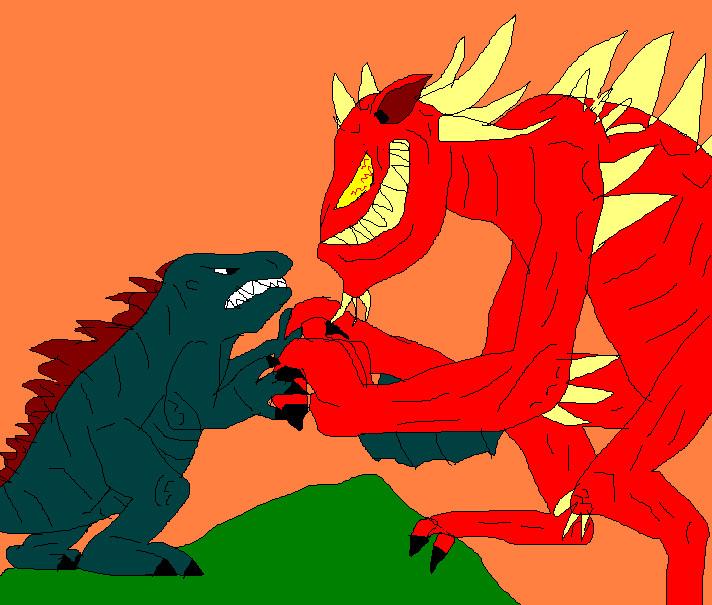Godzilla vs. the Devil by rosutu