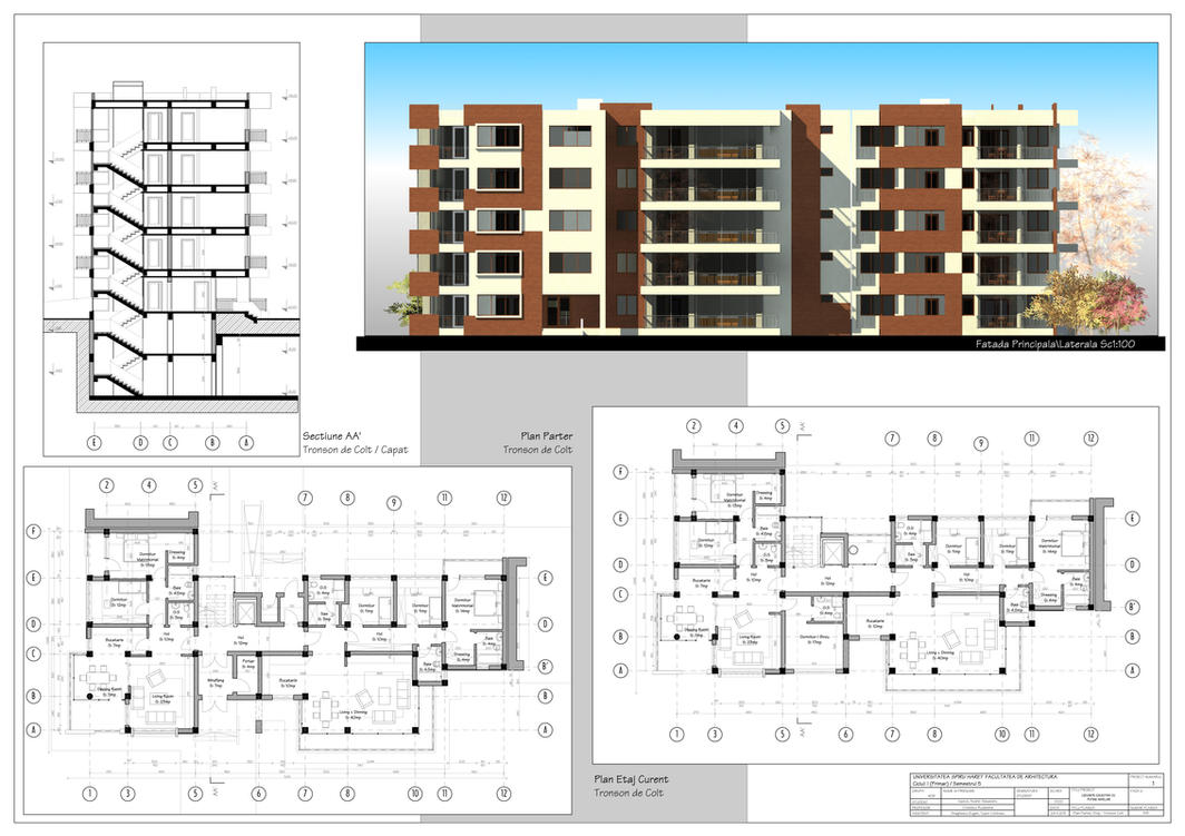 Multistorey apartment building by axeliix on deviantart Blueprint of apartment building