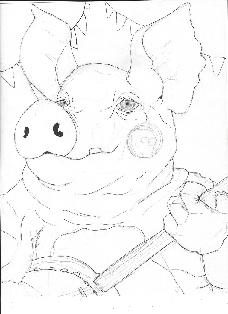 Pigpatch ( Realistic sketch progress) by Frenchfry207