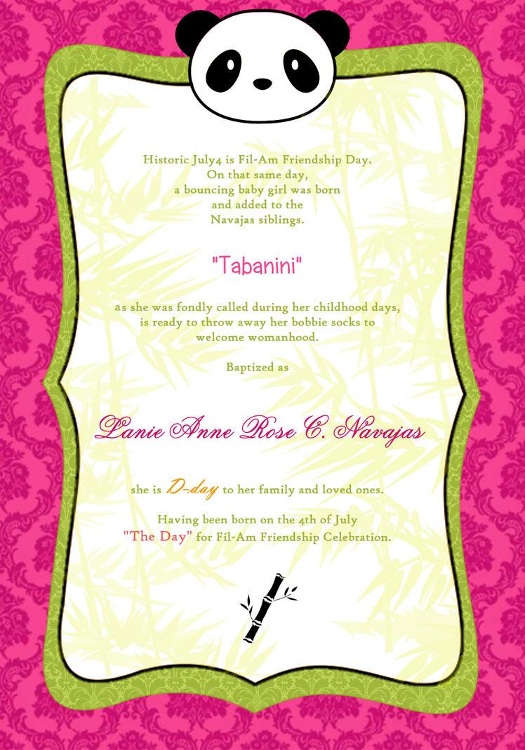 Panda debut invitation 2 by kaerin on deviantart panda debut invitation 2 by kaerin stopboris Images