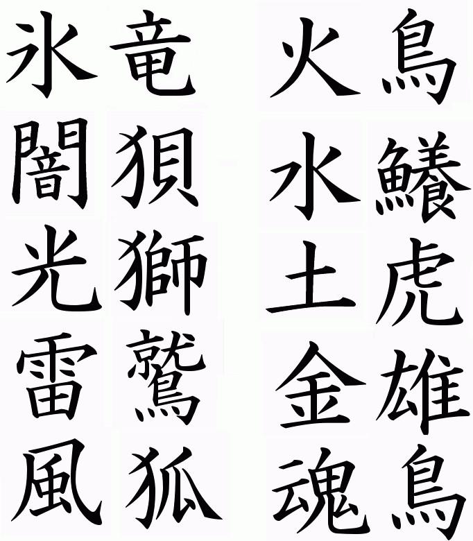 Element and beast spirit kanji by icedragon shiro on
