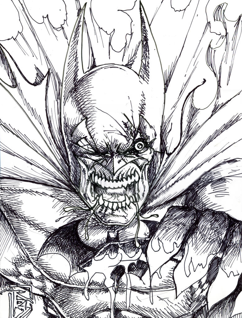 Zombie batman by bigrob1031 on deviantart for Free zombie coloring pages
