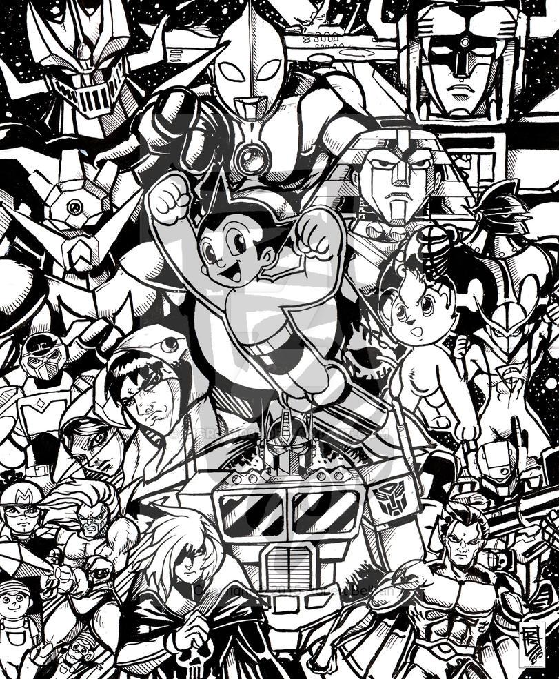Anime Tribute final ink wip by BigRob1031