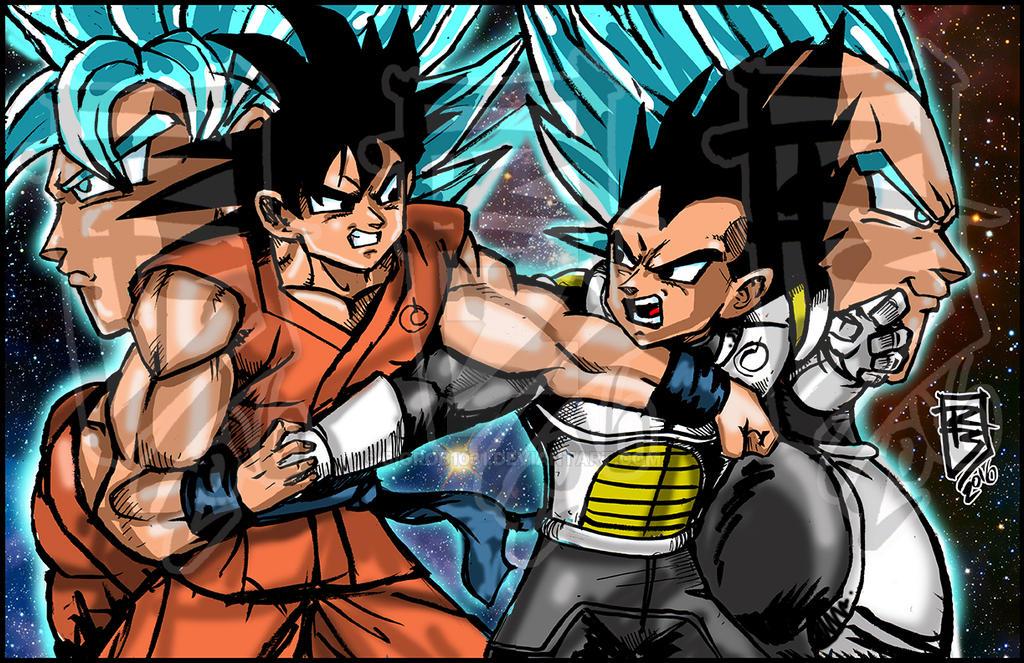 Goku vs Vegita sm wm by BigRob1031