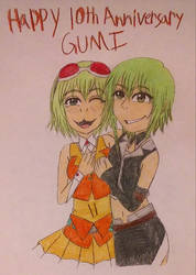 GUMI(Megpoid) ~10th Anniversary~ by TomboyJessie13