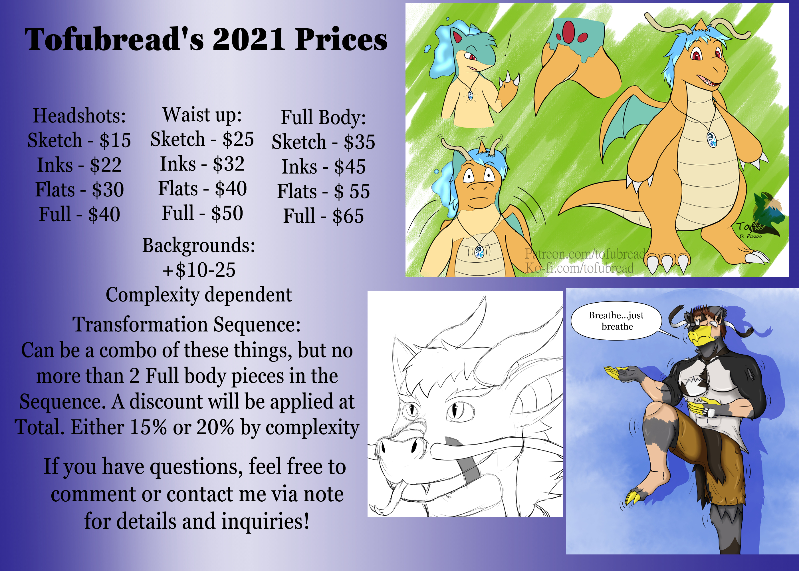 Tofubread 2021 commission prices