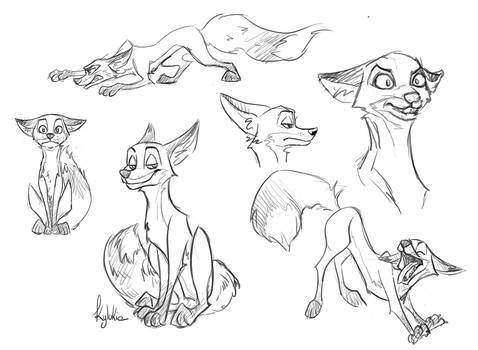 Cartoon fox sketches