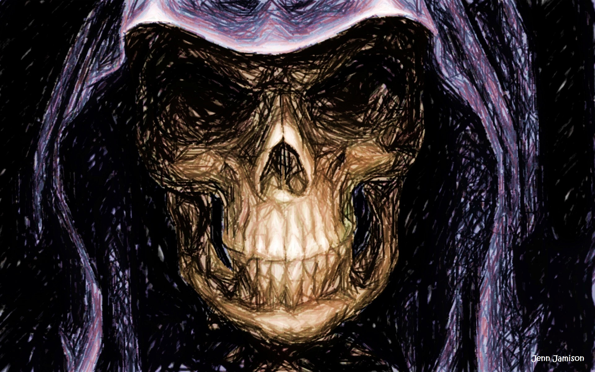 Drawlloween 2015 D20 Skull