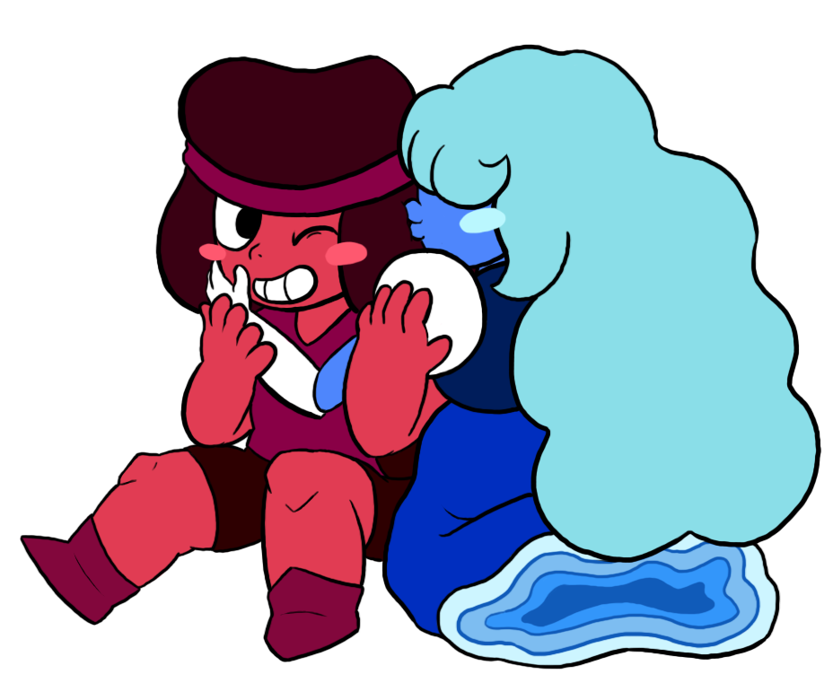I'm trying to learn how to draw Ruby and Sapphire from Steven Universe.. I think they turned out quite cute. They are my favorite couple of the show~ ; w ;