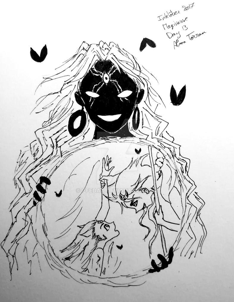 Magiinktober Day 13: Alma Torran by Pfedac