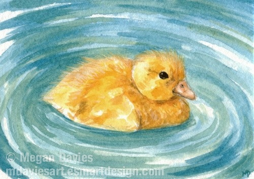 Yellow Duckling ACEO by Pannya