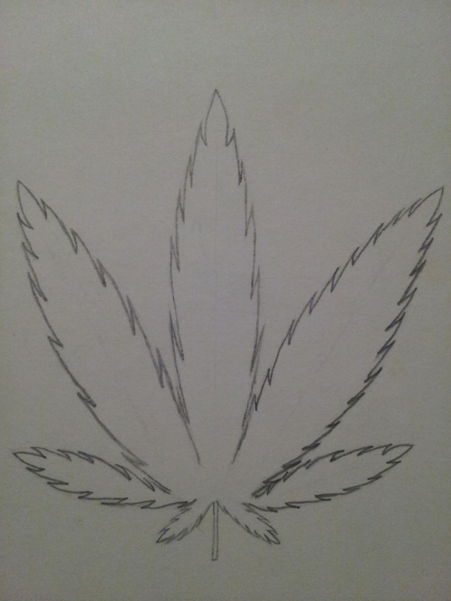 how to draw a weed elaf