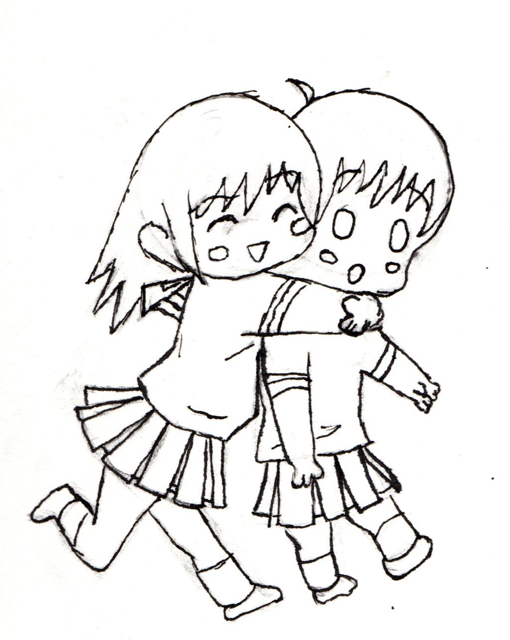 Chibi couple hugging