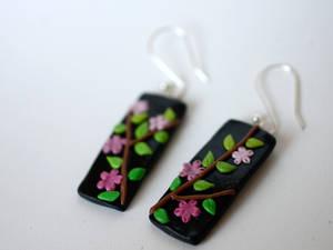 Sakura-branch Earrings [fimo]