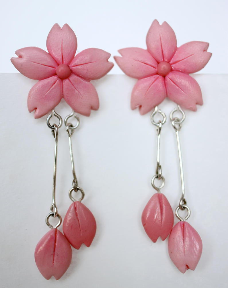 Sakura Blossom Earrings [fimo] by PaleMint