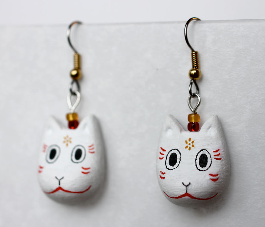 Hotarubi no Mori e Kitsune Mask Earrings by PaleMint