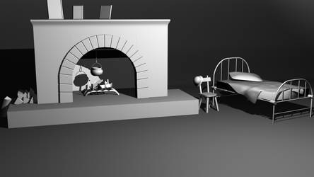 Fireplace and bed