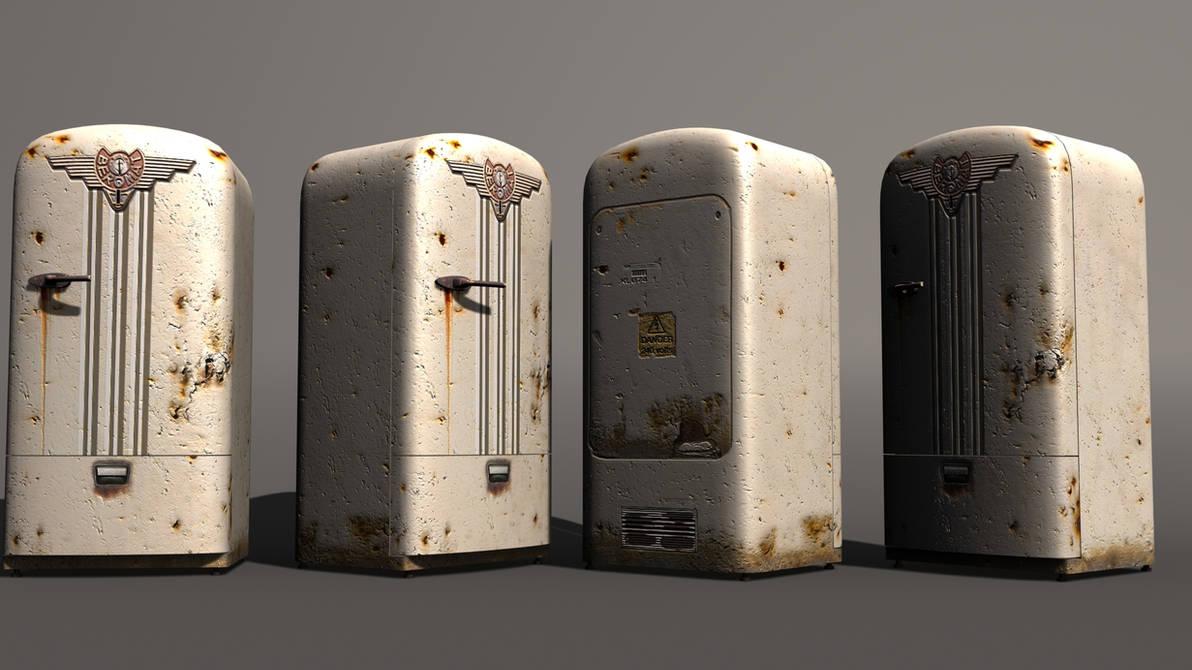 Retro rusty refridgerator