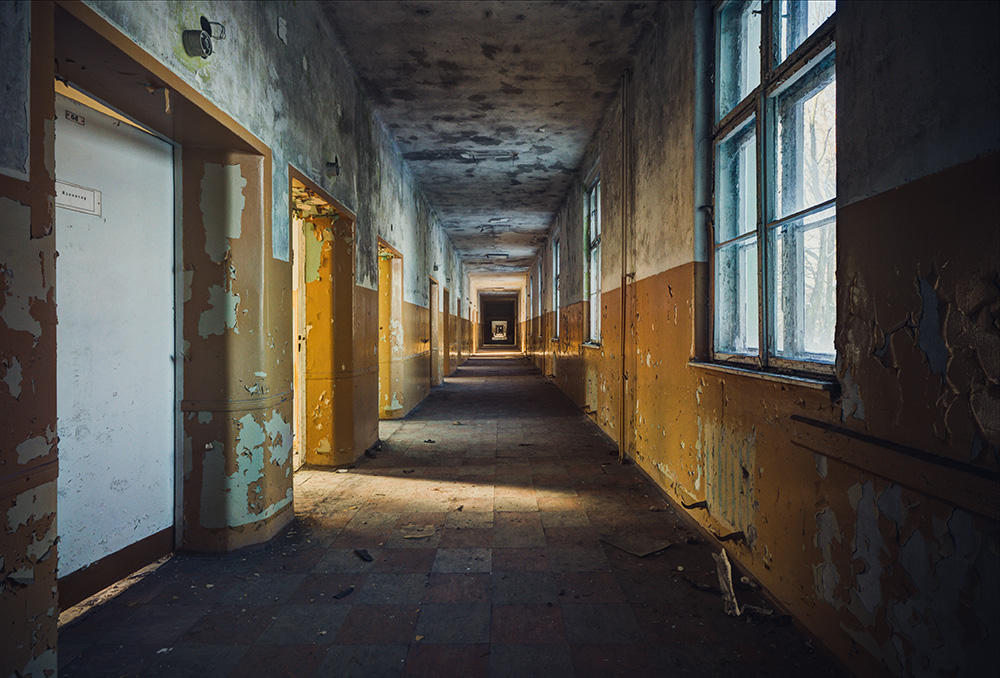 In hospital corridor by AbandonedZone