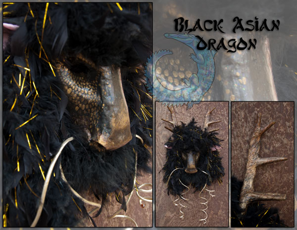 Black Asian Dragon Mask by crocodiledreams