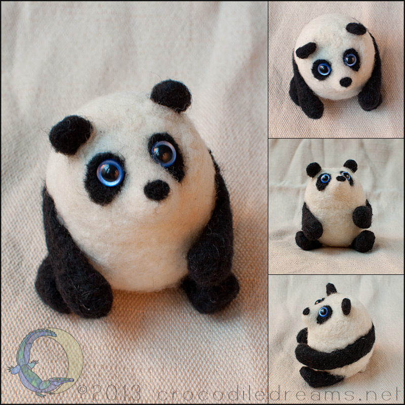 Hollow-felted Panda by crocodiledreams