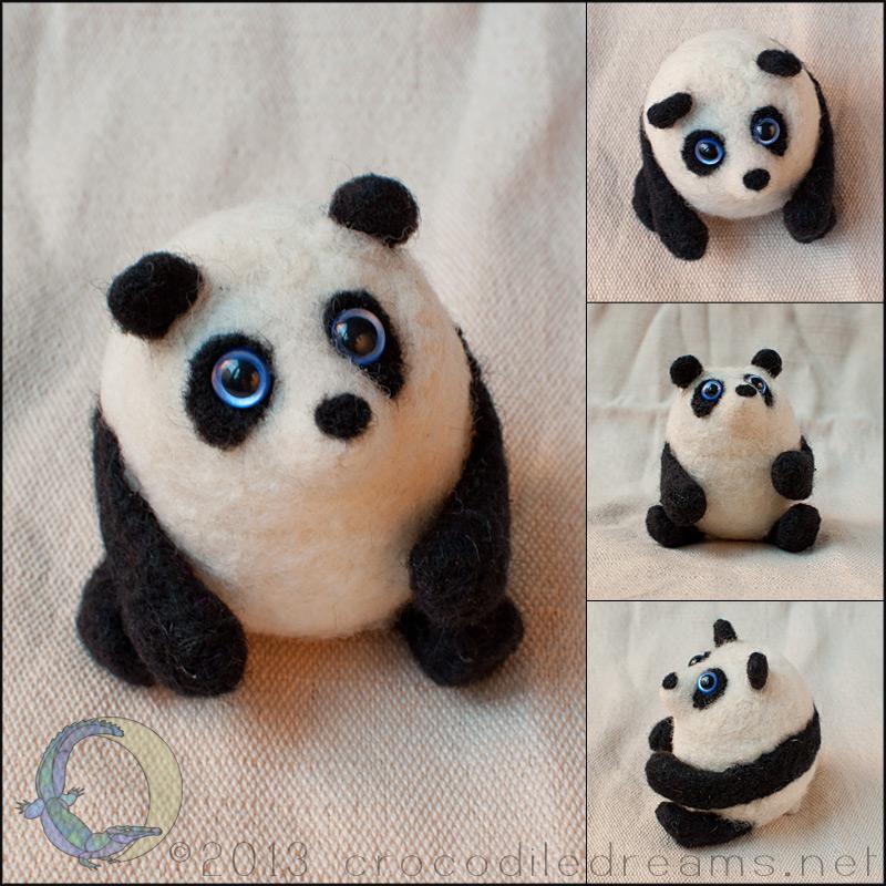 Hollow-felted Panda by crocodiledreams