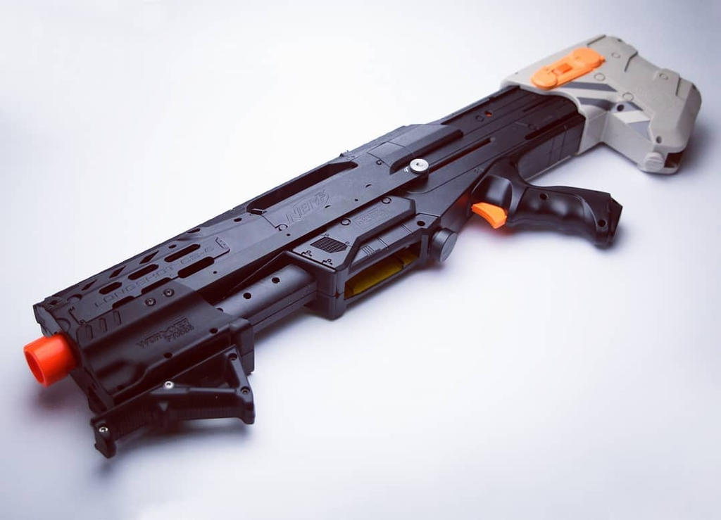 Nerf Longshot- 14kg spring and flat-top rail by SuicideNeil
