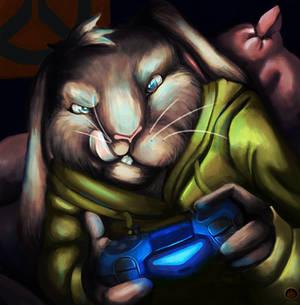 Gamer Bunny, Art Trade with Sarnicsam