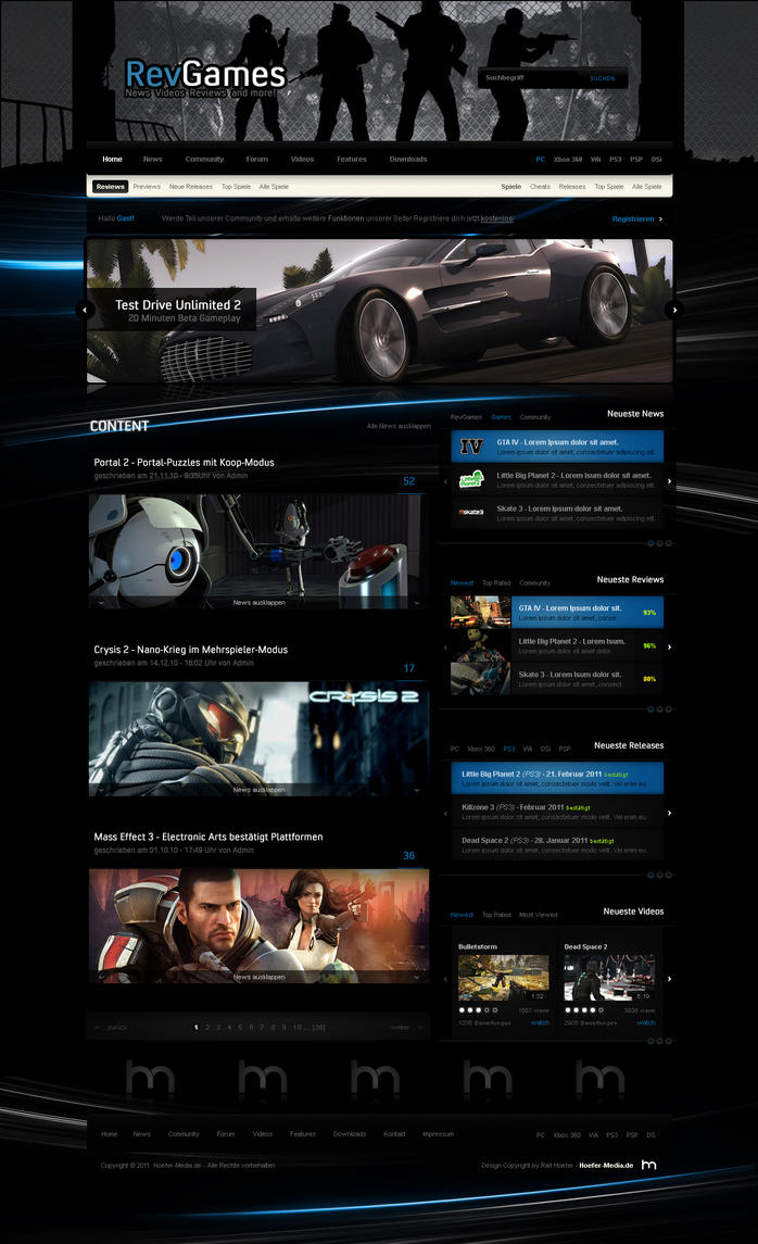 Gaming Site Redesign by Moddog