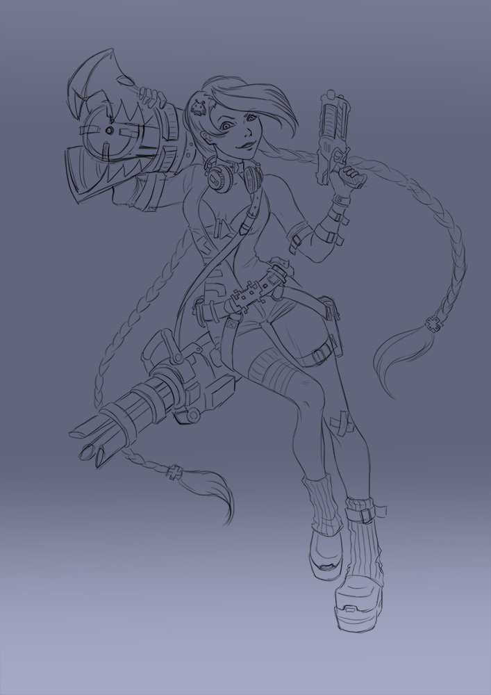 Arcade Jinx lineart by cibo-black-cat