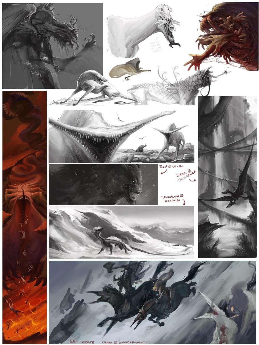 Creature Sketchdump 1 by beastofoblivion