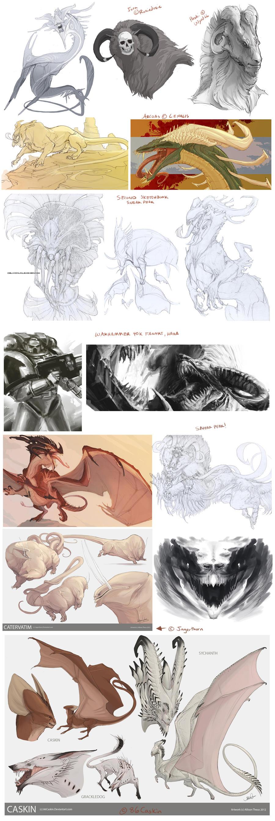 Creature Sketchdump 2 by beastofoblivion