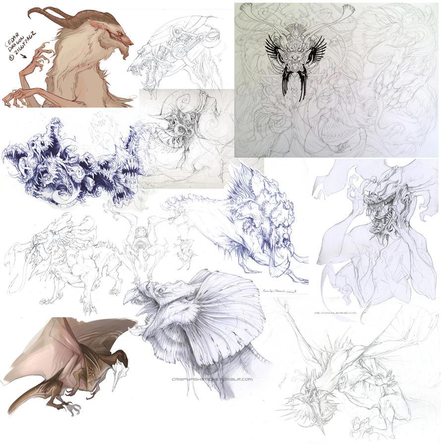 Creature Sketchdump 3 by beastofoblivion