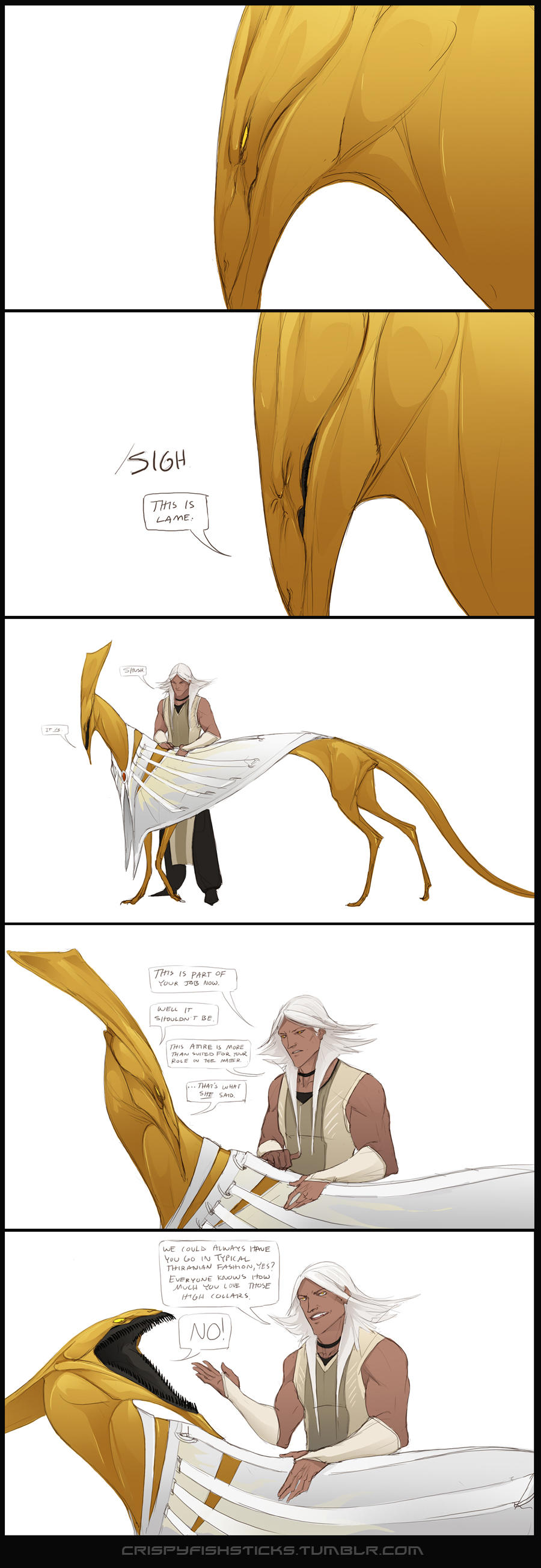 Neckwear is the bane of Jeih's existence by beastofoblivion