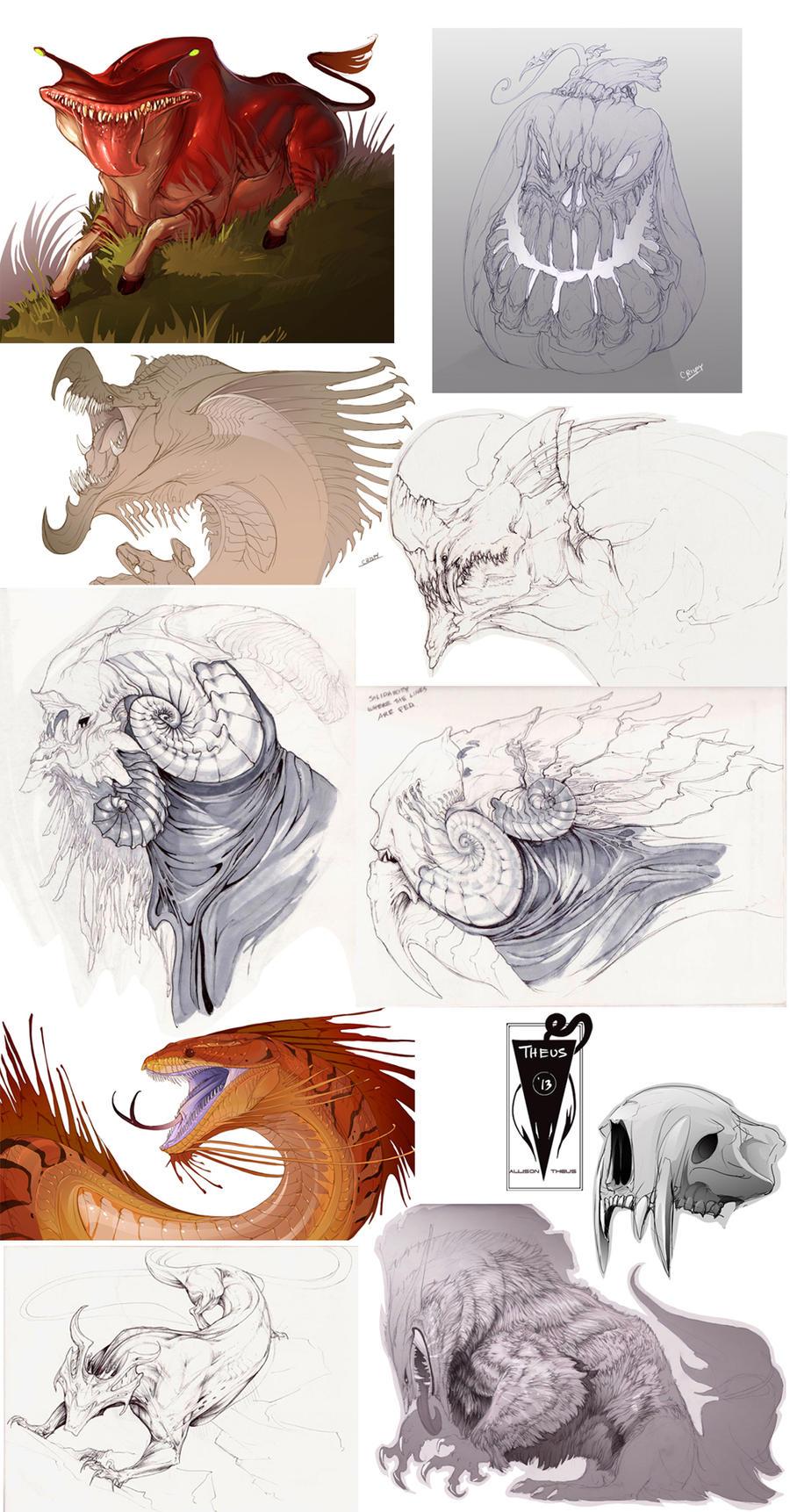 Creature Sketchdump 4 by beastofoblivion