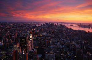 Manhattan Sunset by allsoulsnight