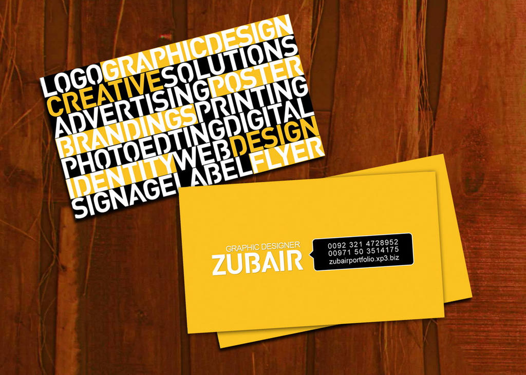 persnl business card as freelance graphic artist by zubairgd on ...