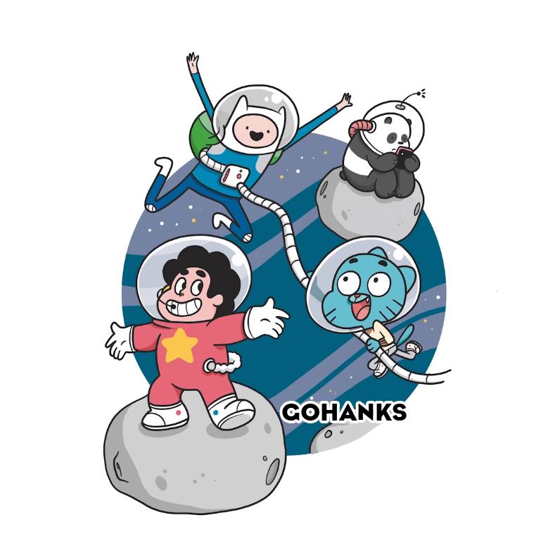 CartoonNetwork Crossover Finn,Steven,Gumball,Panda by GohanksDBS