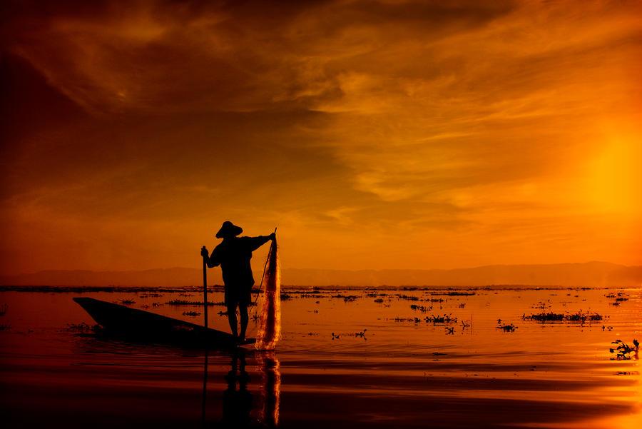 Fisherman in Inlay