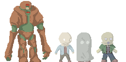 Pixel art monsters by SpyroConspirator