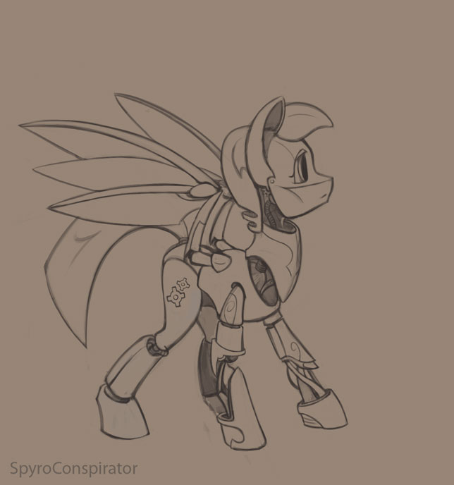 Clockwork-pony-outline by SpyroConspirator