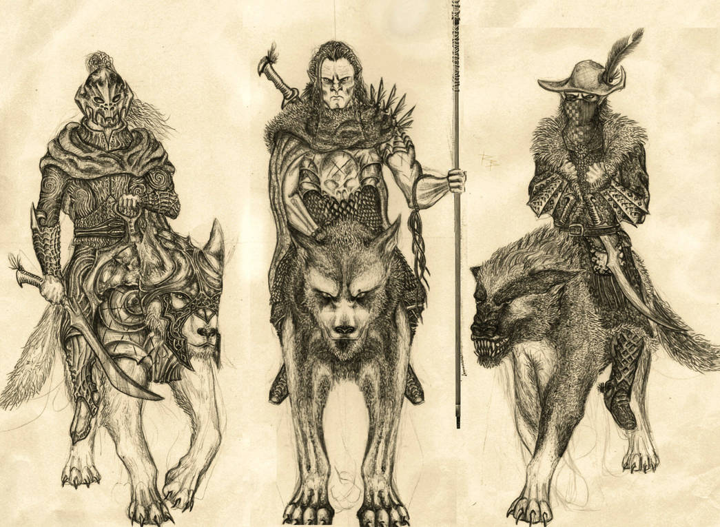 Orcs and wargs by RobertBugan