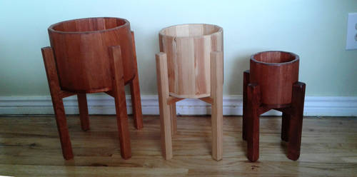 Handmade Wood Pots and stands