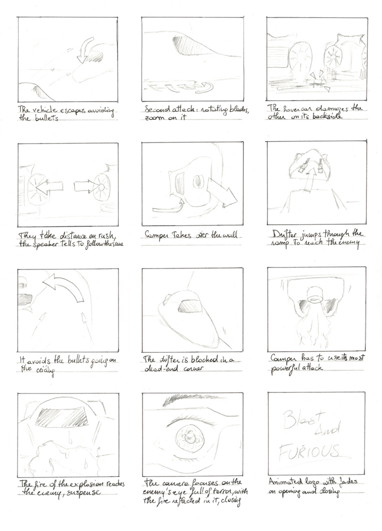 Storyboard for Blast and Furious Game 2 by pukipuki25